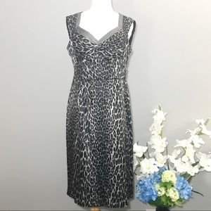 NANETTE LEPORE silk leopard dress grey 10 body con